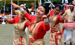Dancers performing Bihu Dance on the occasion of the