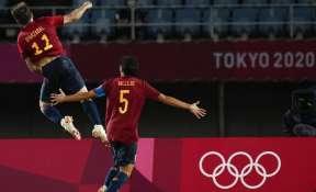 Spain's Mikel Oyarzabal celebrates scoring from the penalty spot