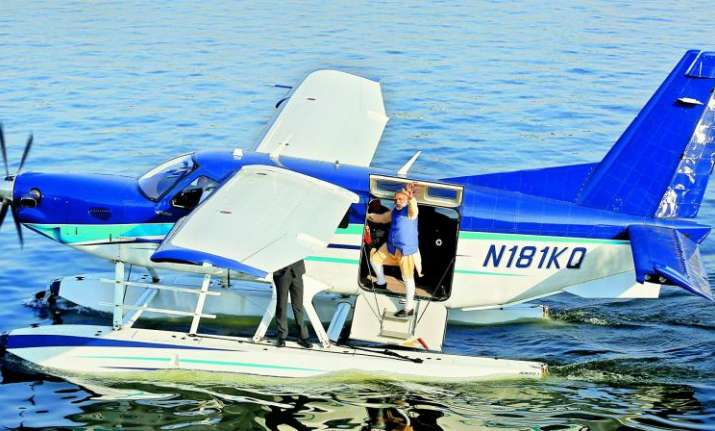 File photo of PM Modi landing on Sabarmati River Front in
