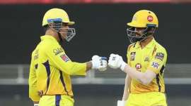 CSK skipper MS Dhoni with Ruturaj Gaikwad.