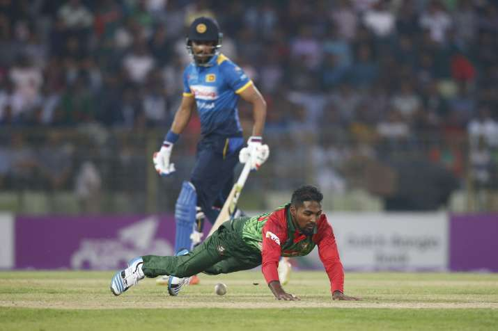 Nazmul Islam in action against Sri Lanka