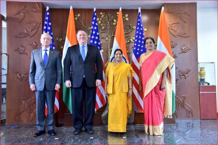 Ministers of India and US after 2+2 Dialogue in New Delhi