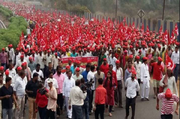 The farmers and workers, participating in the rally,