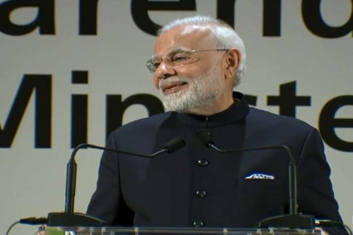 "Prasing his government, PM Modi said; ""India is going"