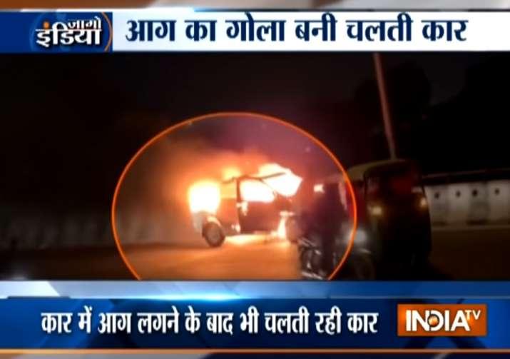 Viral Video: Burning car speeds away on Gurugram flyover