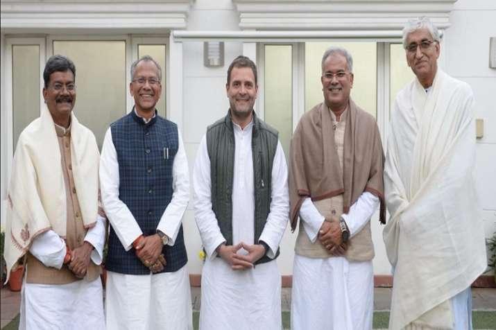 Rahul Gandhi withT S Singh Deo, Tamradhwaj Sahu,