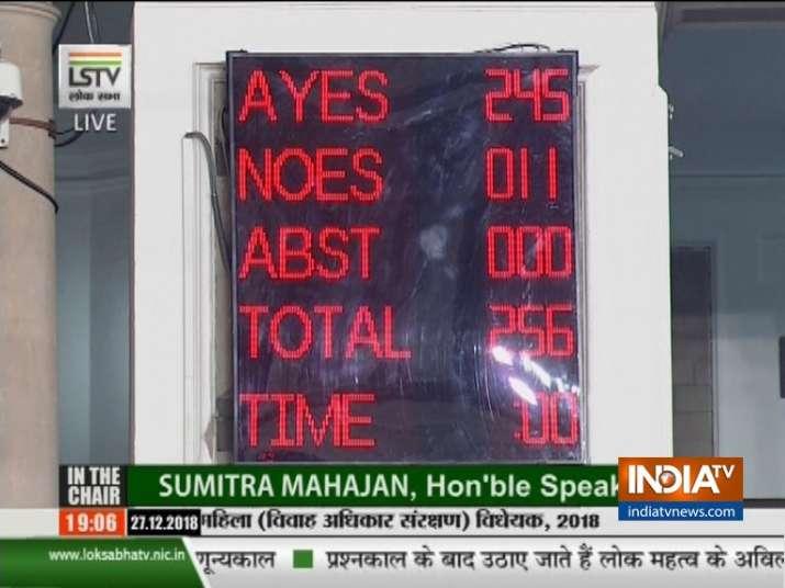 Lok Sabha passes triple talaq bill by 245-11