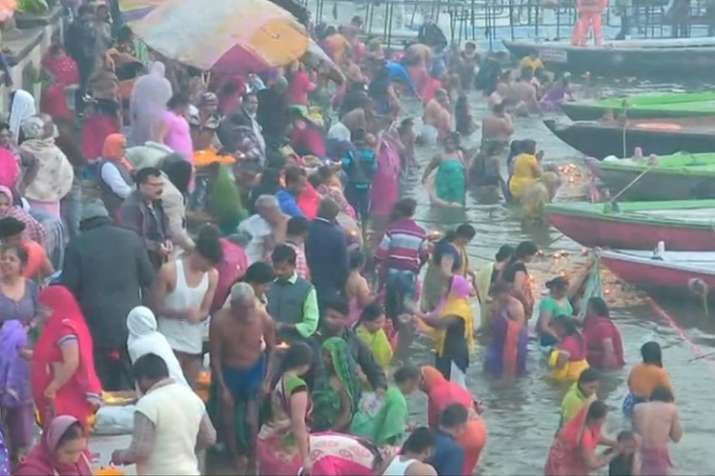 Devotees take holy dip in river Ganga on the occasion of
