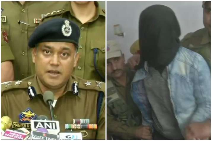 J&K Police's Manish K Sinha (L) told media that the accused