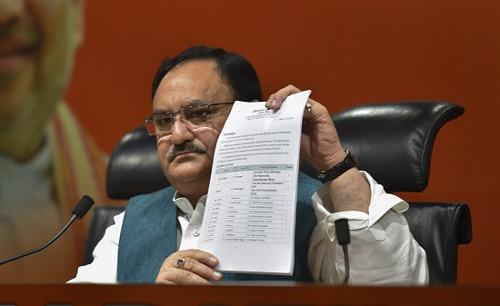 Union Minister and BJP leader JP Nadda shows the first list
