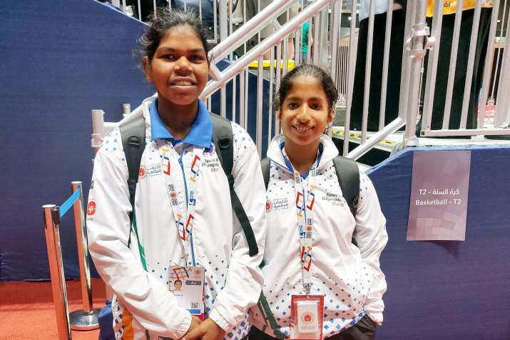 Special Olympics Jyothi A (left) and Rincy Biju (right) of the SO Bharat women's basketball team