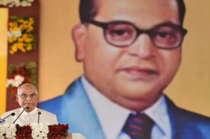 President Ram Nath Kovind with Babasaheb Ambedkar's picture