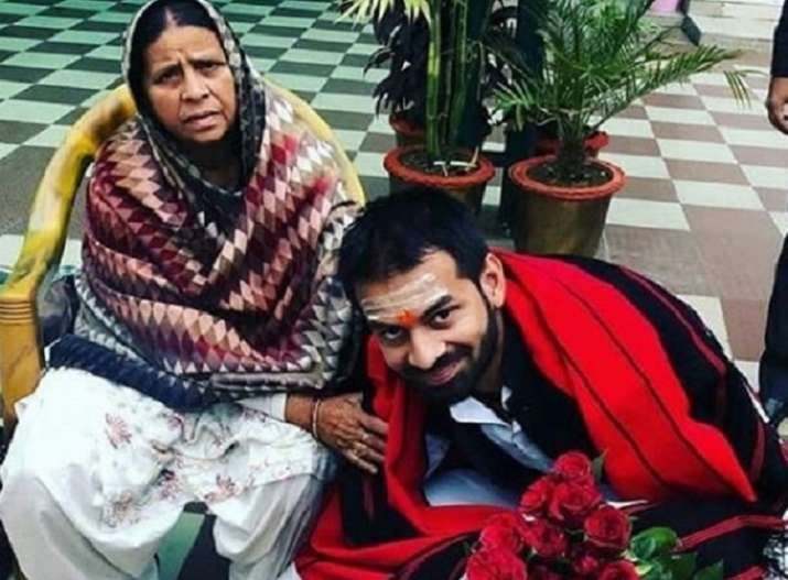 File photo of Tej Pratap and his mother Rabri Devi