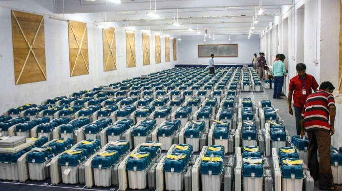 The Poll body said the EVMs were in proper security and