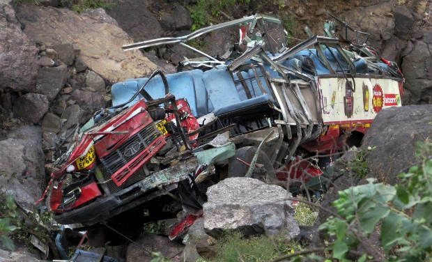 The vehicle skidded off the road and plunged into the Indus