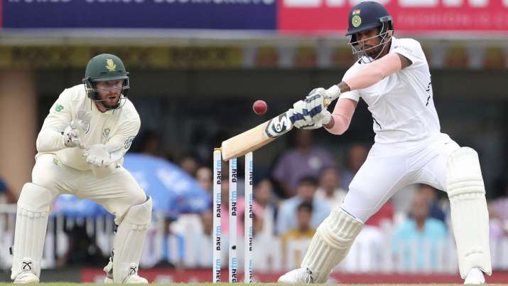 India's Umesh Yadav, right, bats during the second day of