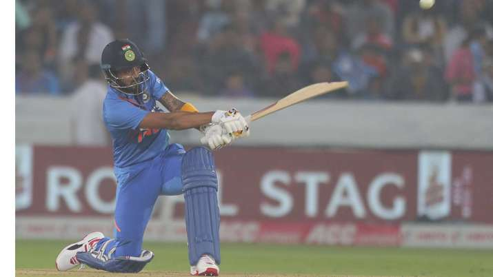India's K L Rahul bats during the first Twenty20