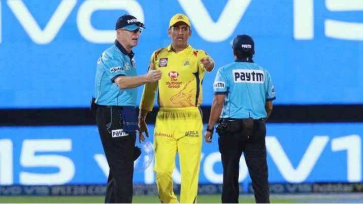 Dhoni during an on-field argument with umpires in IPL 2019