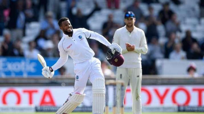 Shai Hope after scoring his maiden Test century in August