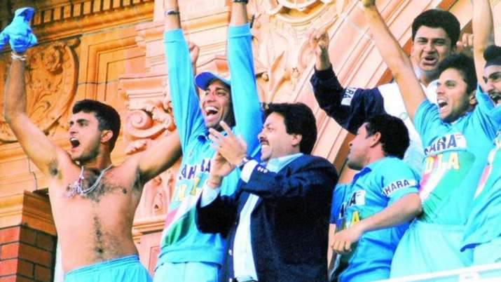 Following the win, Ganguly had waived his T-shirt at the