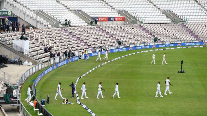 England and the West Indies walk out ahead of day one of