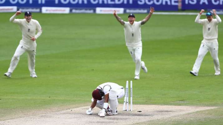 Shai Hope of West Indies is bowled by Stuart Broad of