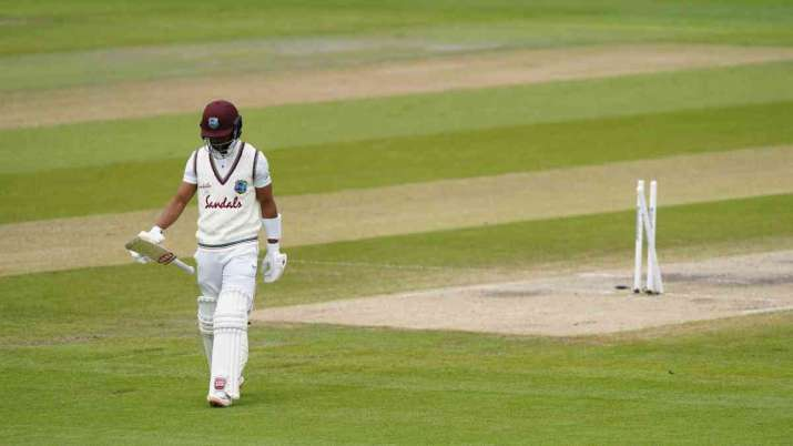 Shai Hope after his dismissal on day 5 of 2nd Test