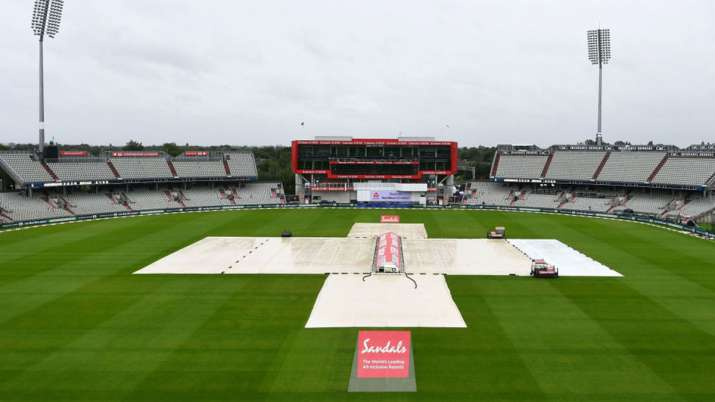 The pitch area is seen covered ahead of the fourth day of