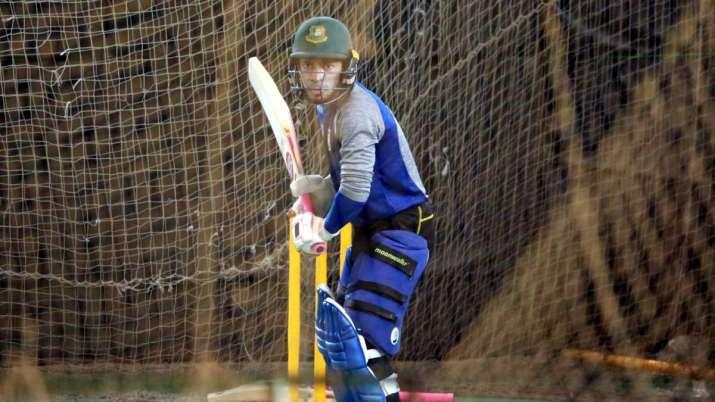 Mushfiqur Rahim at the training nets