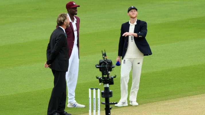 Ben Stokes and Jason Holder during toss time