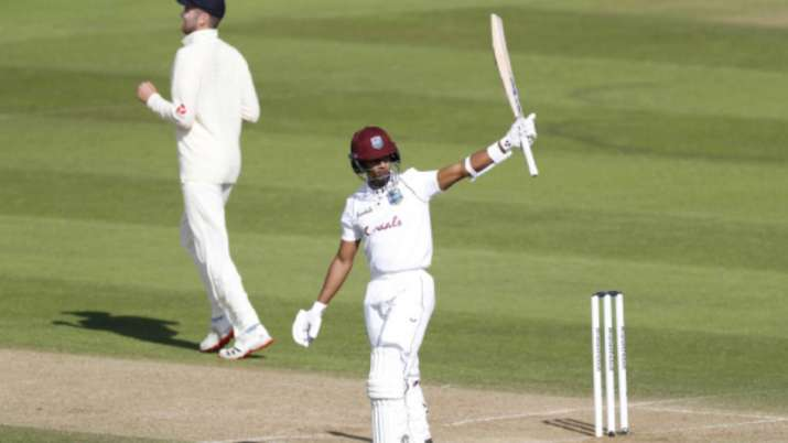 Shane Dowrich of the West Indies celebrates his half