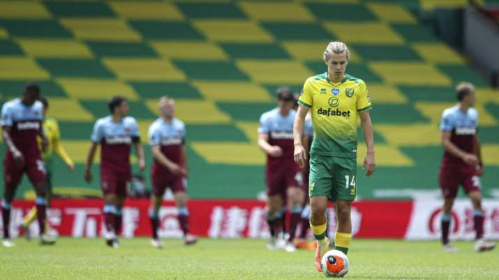 Norwich City's Todd Cantwell is dejected after West Ham