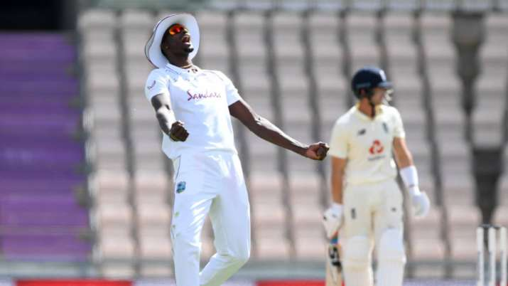 Jason Holder reacts after a dismissal on day 4 of the first