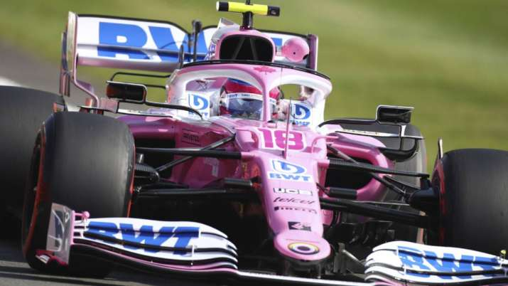 Racing Point driver Lance Stroll of Canada steers his car