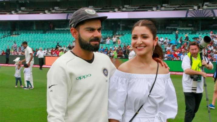 Virat Kohli and Anushka after India's Test series win in