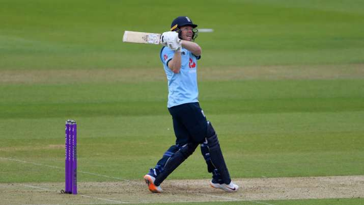 Eoin Morgan of England hits out during the Third One Day