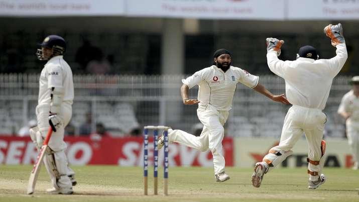 Monty Panesar after dismissing Sachin Tendulkar