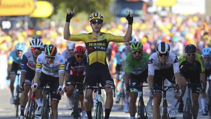 Belgium's Wout Van Aert crosses the finish line to win the