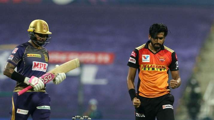 Sunil Narine was dismissed for a duck against SRH