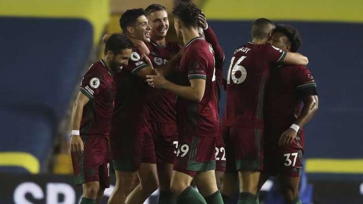 Wolverhampton Wanderers' Raul Jimenez, 2nd left, celebrates