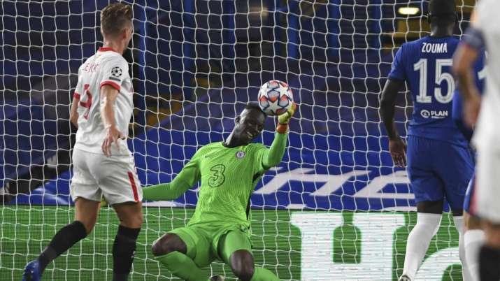 Chelsea's goalkeeper Edouard Mendy blocks the ball during