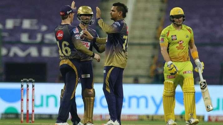 Sunil Narine after dismissing Shane Watson