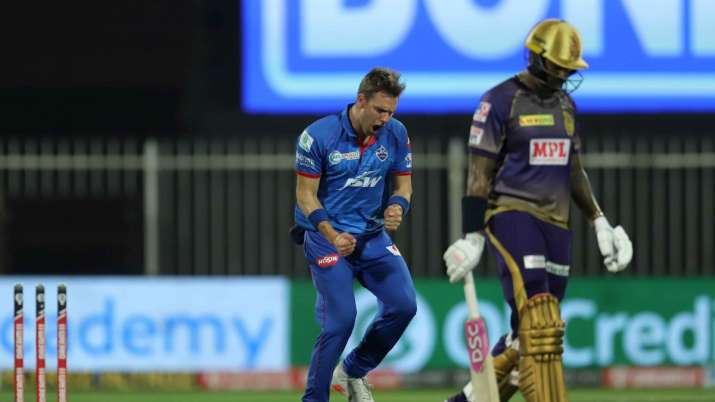 Anrich Nortje reacts after picking a wicket against KKR