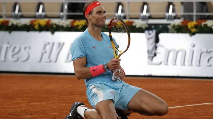 Spain's Rafael Nadal celebrates winning the final match of