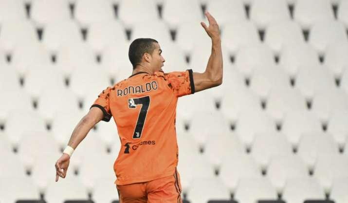 Juventus' Cristiano Ronaldo celebrates after scoring his