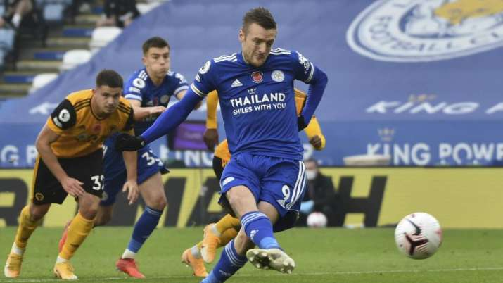Leicester's Jamie Vardy scores his side's opening goal