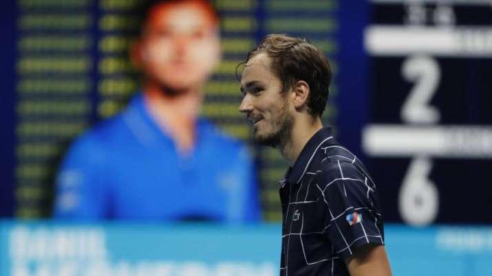 Daniil Medvedev of Russia smiles after winning against