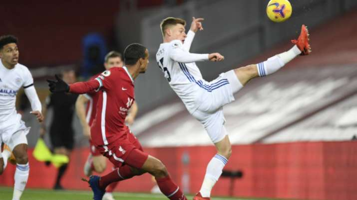 Leicester's Harvey Barnes, right, and Liverpool's Joel