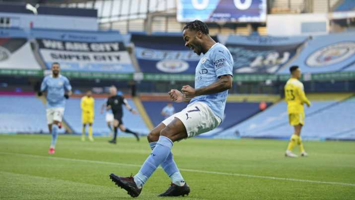 Manchester City's Raheem Sterling celebrates after scoring
