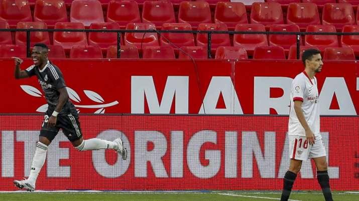 Real Madrid's Vinicius Junior celebrates a goal during the